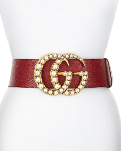 Wide Leather Belt w/ Pearlescent Beads, Red/Cream