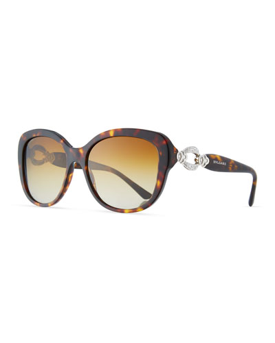 Square Gradient Polarized Sunglasses, Tortoise