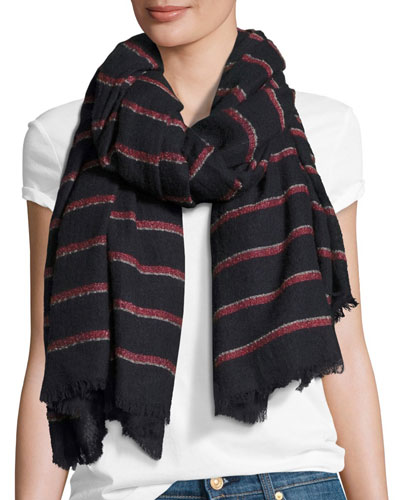 Rowing Striped Scarf with Fringed Edges, Navy