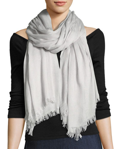 Buckley Striped Scarf with Fringed Edges, Light Gray