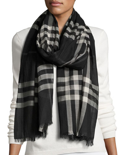 Gauze Giant Check Scarf, Black