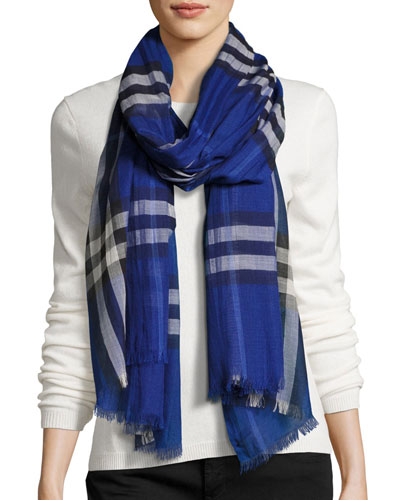 Gauze Giant Check Scarf, Dark Blue