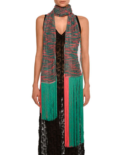 Long Sheer Fringe Scarf, Green/Pink