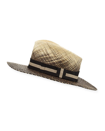 Bacall Paisley Wide Sun Hat, White/Black