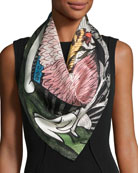 The Moth Strength Printed Silk Scarf, Black