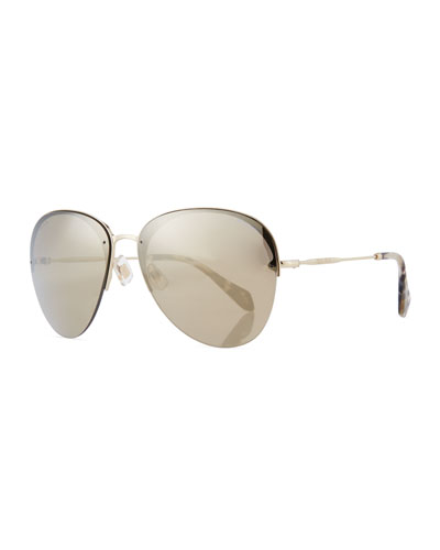 Oversized Metal Aviator Sunglasses
