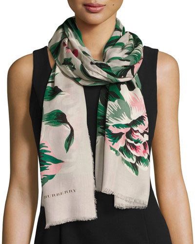 Floral Wool & Silk Scarf, Emerald/White