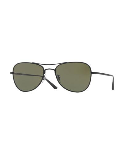 Executive Suite 53 Monochromatic Aviator Sunglasses, Black