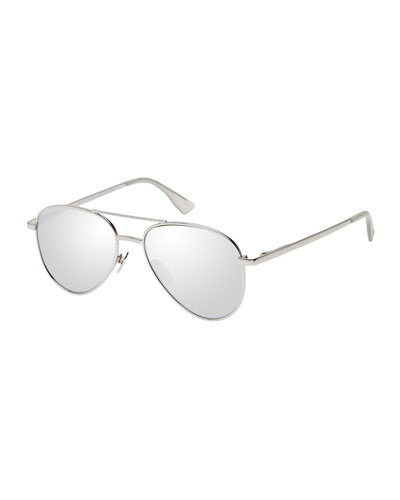 Imperium Mirrored Aviator Sunglasses, Platinum