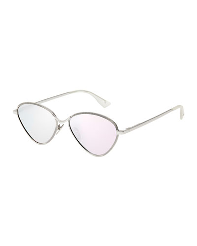 Bazaar Laser-Cut Geometric Sunglasses, Platinum