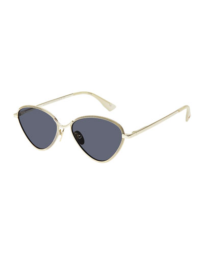 Bazaar Laser-Cut Geometric Sunglasses, Black/Gold