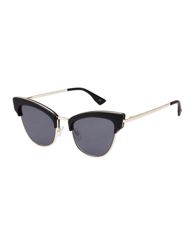 Ashanti Semi-Rimless Cat-Eye Sunglasses, Matte Black