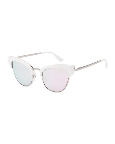 Ashanti Semi-Rimless Cat-Eye Sunglasses, Pink/Matte Quartz