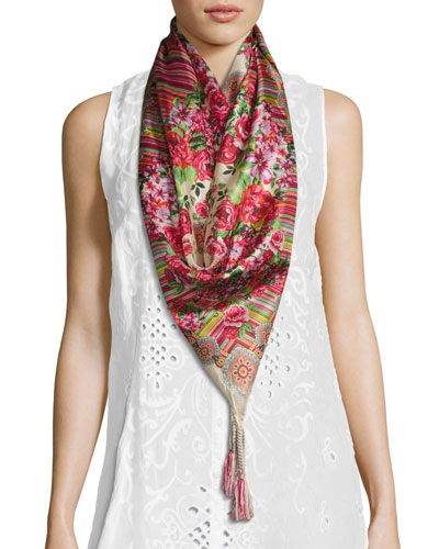 Rose Lace Printed Silk Scarf