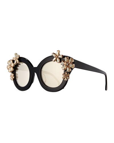 Madison Floral Swarovski® Cat-Eye Sunglasses, Black