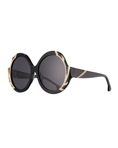 Stacey Notched Round Swarovski® Sunglasses, Black