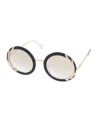 Beverly Round Swarovski® Sunglasses, Black/White