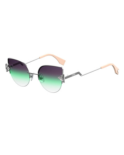 Rainbow Metal Cat-Eye Sunglasses, Green/Silver