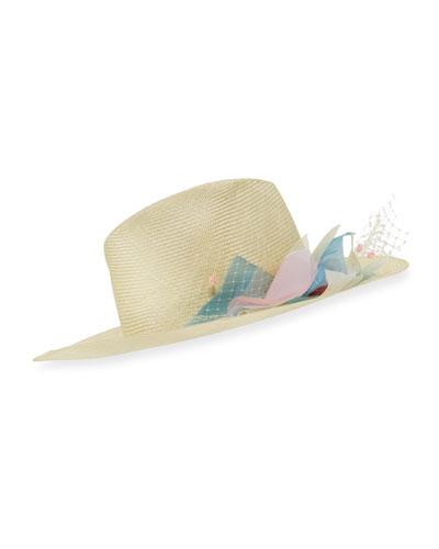 Florence Silk Flower Wide-Brim Fedora Hat, Yellow