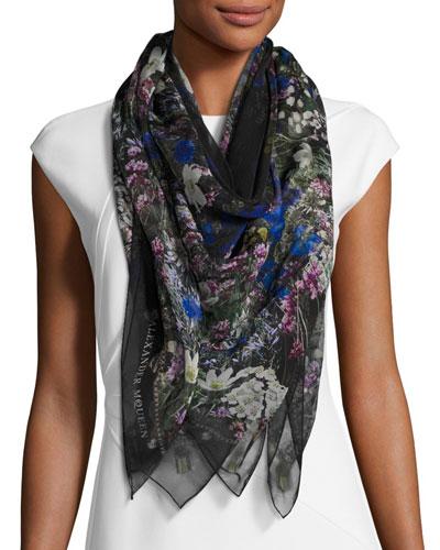 Wild Meadow Square Silk Scarf, Black/White