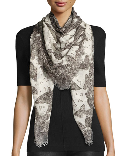 Wildflower Flight Square Voile Scarf, White/Black