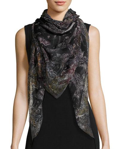Wildflower Flight Square Silk Scarf, Black/White