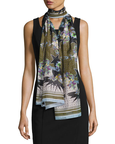 Ultra Paradise Flower Scarf, Blue/Green