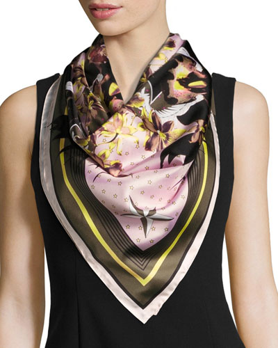 Ultra Paradise Square Silk Twill Scarf, Pink/Green