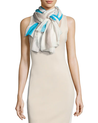 Righina Striped Cotton Scarf, Multicolor