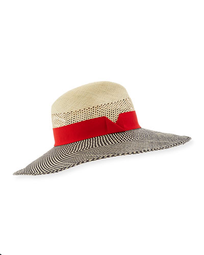 Patterned Straw Sun Hat, Red/Neutral