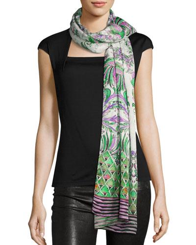 Floral Silk Satin Jacquard Scarf, White/Purple