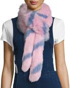 Swirly Striped Fox Fur Scarf, Pink