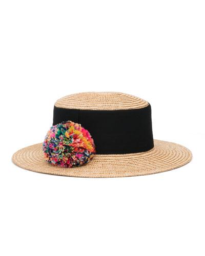 Brigitte Straw Boater Hat, Neutral