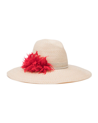 Carmen Feather-Trim Sun Hat, Ivory