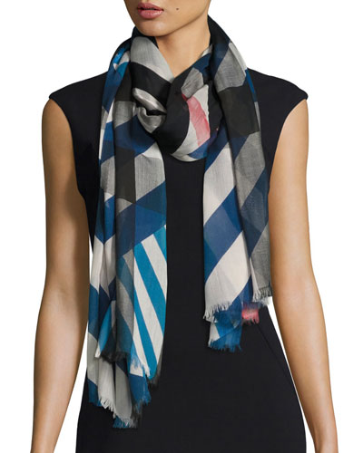 Multi-Stripe Sheer Voile Scarf, Blue/White