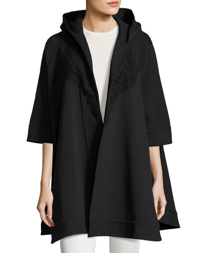 Lace-Trim Hooded Poncho, Black