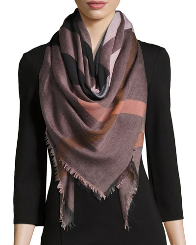 Relaxed Mega Check Scarf, Rose