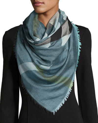 Relaxed Mega Check Scarf, Medium Blue