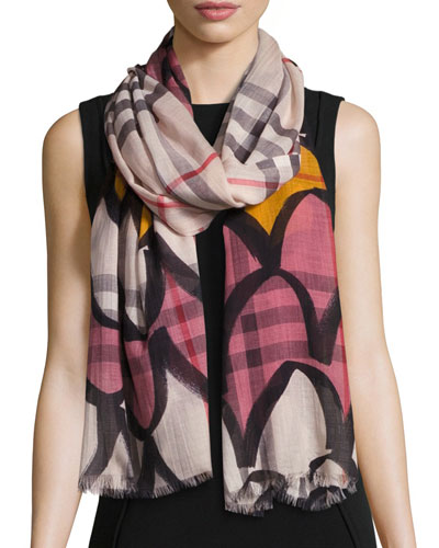 Scalloped Wool-Blend Check Scarf, Light Pink