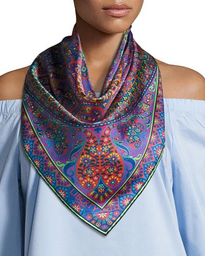 Aurora Silk Twill Paisley Scarf, Red/Multicolor