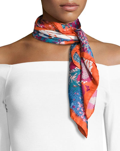 Daydream Square Silk Twill Greenery Scarf, Orange