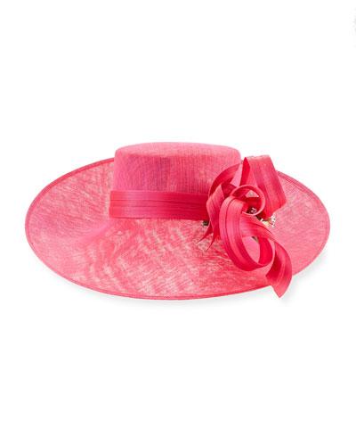 Asymmetric Upturn Straw Hat, Bright Pink