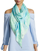 Square Hydrangeas Scarf, Light Blue