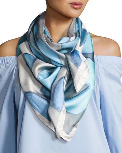 Silk Chiffon Square Floral Canopy Scarf, Light Blue