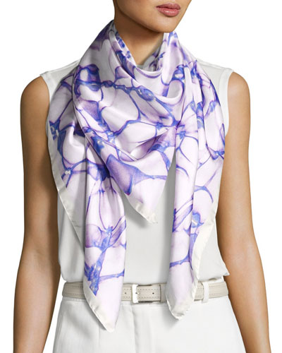 Silk Satin Square Water Scarf, Purple