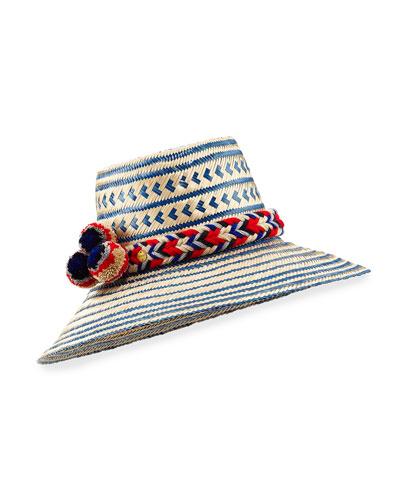 Guajiro Patterned Mawisa Sun Hat, Blue/Natural