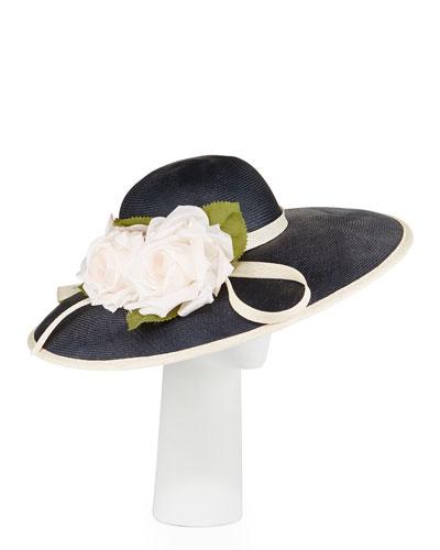 Straw Rosette Dress Hat, Navy