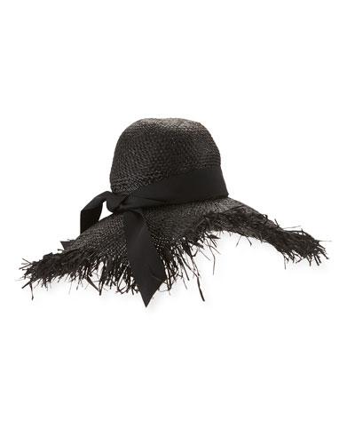 Été Raffia Sun Hat, Black