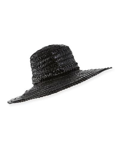 Taya Coated Straw Sun Hat, Black