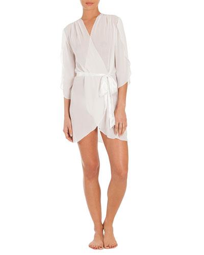 Summer Chiffon Short Wrap Robe, Ivory